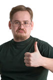 Man with thumb up. Young man with glasses or spectacles with thumb up, isolated on white background Stock Photos