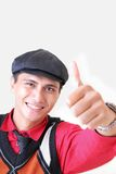 Man thumb up. Man showing thumb up wearing hat Royalty Free Stock Photography