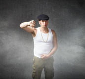 Man thumbing down with finger Royalty Free Stock Photos