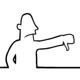 Man with thumbs down. Black line art illustration of a man with his thumbs down Royalty Free Stock Photography