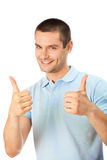 Man with thumbs up. Gesture, isolated on white royalty free stock image