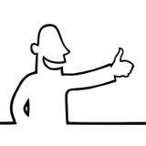 Man with thumbs up. Black line art illustration of a man with his thumbs up royalty free illustration