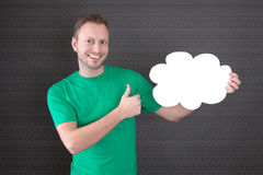 Man thumbs up with blank sign - man isolated on black background Royalty Free Stock Image