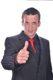 Man thumbs up, it's great success Royalty Free Stock Photography