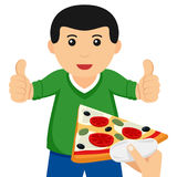 Man with Thumbs Up Taking a Slice of Pizza Royalty Free Stock Photo