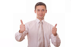 Man with thumbs up on two hands Stock Photos