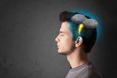Man with thunderstorm lightning head Royalty Free Stock Images