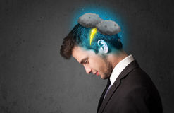 Man with thunderstorm lightning head Stock Photo