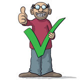 Man with a tick. Vector illustration of man with a tick and thumb up Stock Images