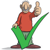 Man with a tick. Vector illustration of man with a tick and thumb up Royalty Free Stock Photos