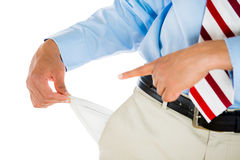 Man with tie, khakis, dress shirt, and belt, pulling out empty pocket Stock Photography