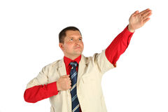 Man with tie shows direction by hand Royalty Free Stock Photos
