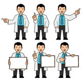 A man in a tie and a white lab coat. The character of men. A man in a tie and a white lab coat. Different poses. The man points hand. A man holds a placard. Man vector illustration