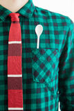 Man with tie and a white spoon in the pocket Stock Image