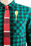 Man with tie and a yellow spoon in the pocket Royalty Free Stock Photos