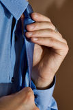Man and tie. Young man and Blue Tie Royalty Free Stock Photography