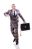 Man tied up with rope Royalty Free Stock Photos