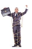 Man tied up with rope Stock Photography