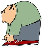 Man Tying Shoes. This illustration depicts a man bent over tying his shoes Royalty Free Stock Photography