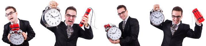 The man with time bomb isolated on white. Man with time bomb isolated on white royalty free stock photo