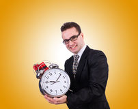 Man with time bomb isolated on white Stock Photography