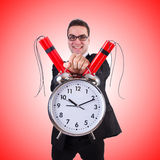 Man with time bomb isolated on white Royalty Free Stock Images