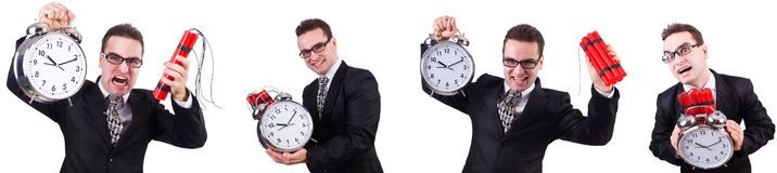 The man with time bomb isolated on white. Man with time bomb isolated on white stock photos
