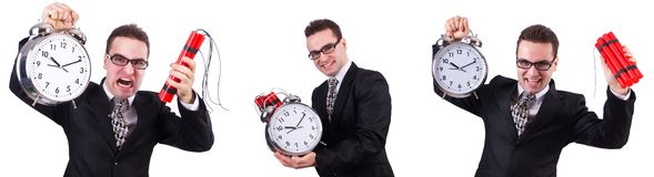 The man with time bomb isolated on white. Man with time bomb isolated on white stock photography