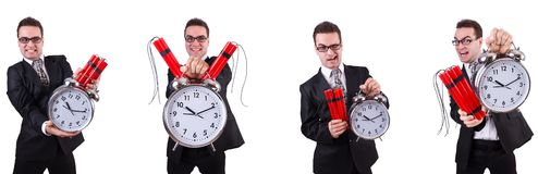 The man with time bomb isolated on white. Man with time bomb isolated on white stock photo