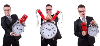 Man with time bomb isolated on white. The man with time bomb isolated on white royalty free stock image