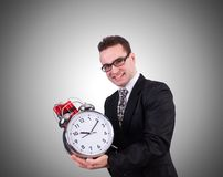 Man with time bomb  on the white Stock Image