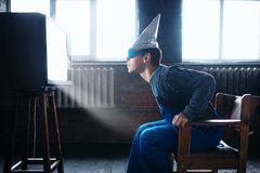 Man in tinfoil helmet and glasses, UFO phobia Royalty Free Stock Images