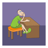 Man. A  tired man sitting on the chair near the desk.He wearing green clothes and shoes Royalty Free Stock Photo