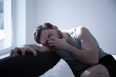 Man tired after sleepless night Royalty Free Stock Images