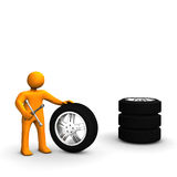 Man With Tires Stock Photos