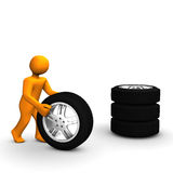 Man With Tires Royalty Free Stock Photos