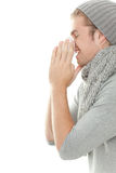 Man with tissue cold Royalty Free Stock Image