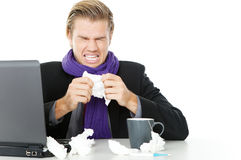 Man with tissue working Stock Photo