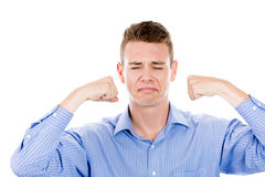 Man about to cry, motioning with his fists Stock Images