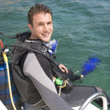 A man about to go scuba diving Stock Photography