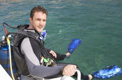 A man about to go scuba diving Royalty Free Stock Photography