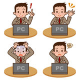 Man to operate the computer. Vector illustration.Original paintings and drawing Royalty Free Stock Image