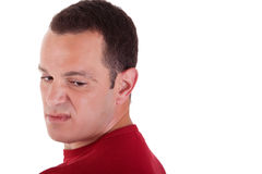 Man to turn around, looking with contempt Royalty Free Stock Image