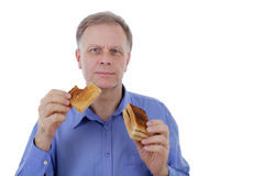Man with toast bread Royalty Free Stock Image
