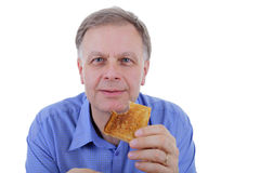 Man with toast bread Royalty Free Stock Photos