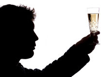 Man toasting with glass of champagne Stock Images