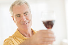 Man Toasting Red Wineglass At Home Stock Image