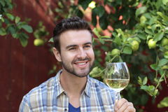 Man toasting and smiling. Man toasting with a glass of wine Stock Photo