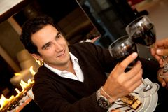 Man toasting with wine Royalty Free Stock Photography