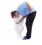 Man and the toilet Stock Photos